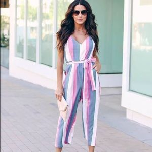 Striped Pocketed Jumpsuit